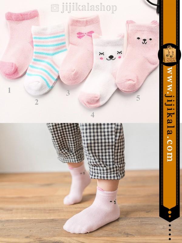 جوراب-بچگانه-گوشدار-صورتی-۲